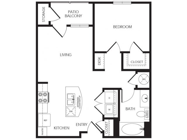 665 sq. ft. Cypress floor plan