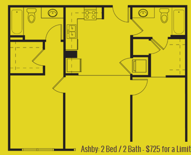 901 sq. ft. Ashby floor plan