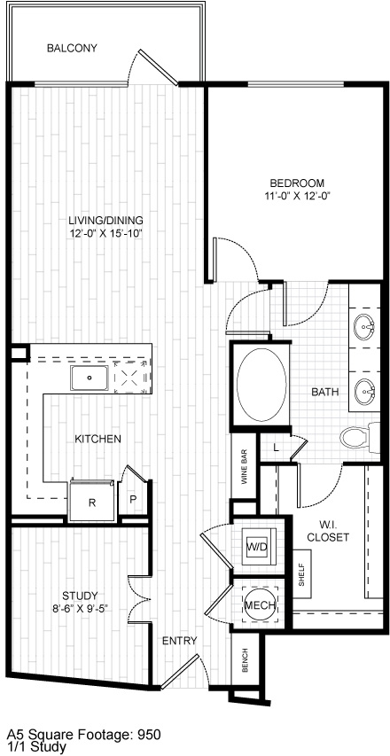 943 sq. ft. A9 floor plan