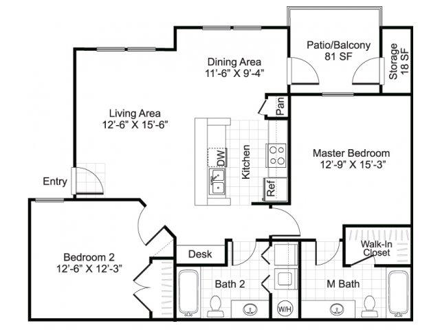 954 sq. ft. GRANDE floor plan