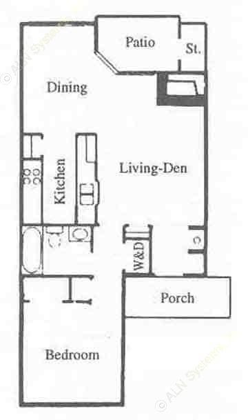 755 sq. ft. A1 floor plan