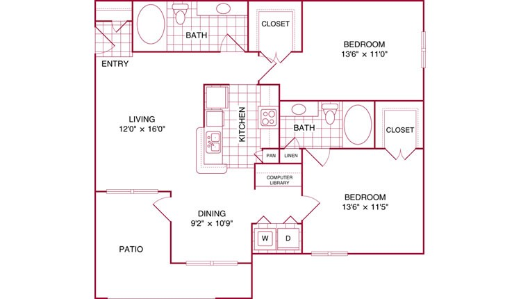 1,040 sq. ft. E floor plan