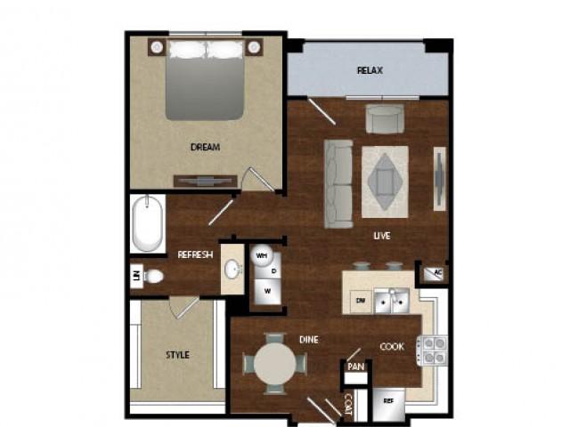 799 sq. ft. A2 floor plan