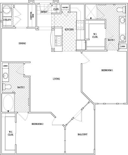 1,202 sq. ft. to 1,249 sq. ft. floor plan