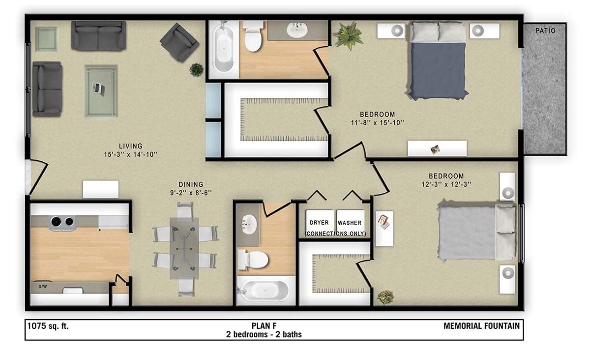 1,075 sq. ft. F floor plan