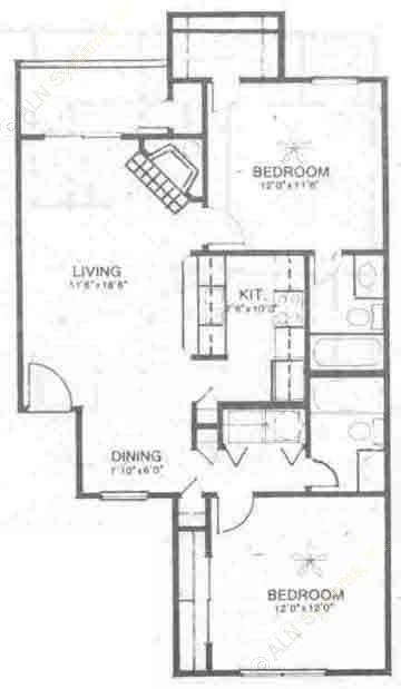 894 sq. ft. B2 floor plan