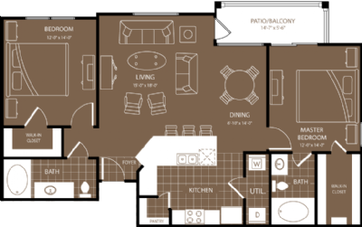 1,170 sq. ft. New York floor plan