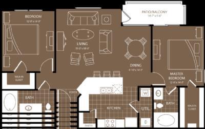 1,170 sq. ft. New York floor plan