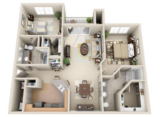 1,116 sq. ft. Paris floor plan