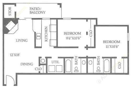 830 sq. ft. B1/50% floor plan