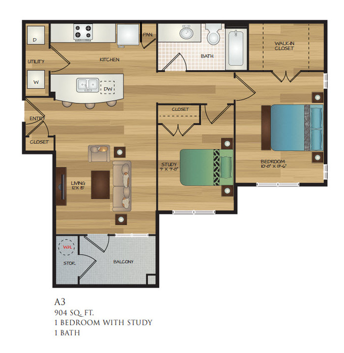 904 sq. ft. A3 floor plan