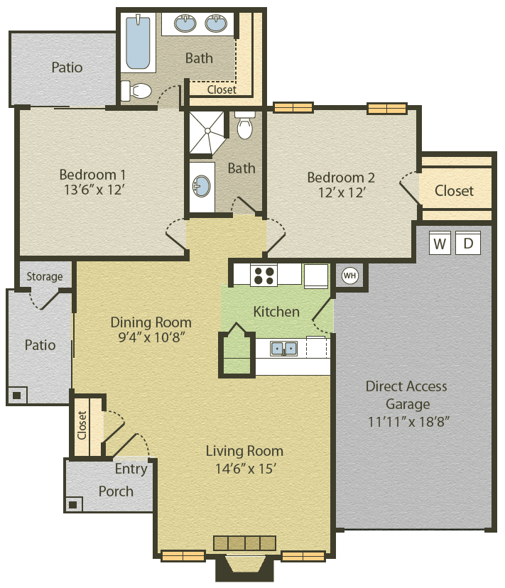 1,028 sq. ft. B3 floor plan