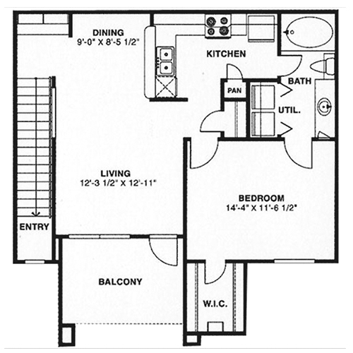 702 sq. ft. A2/60% floor plan