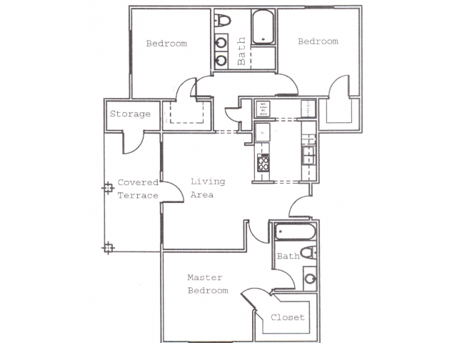 1,136 sq. ft. C2 floor plan