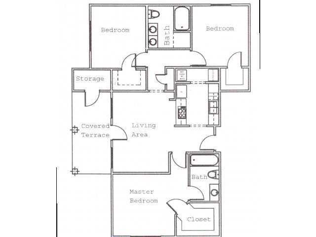 1,136 sq. ft. C2 floor plan