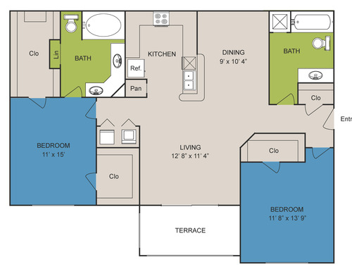 1,175 sq. ft. B3 floor plan