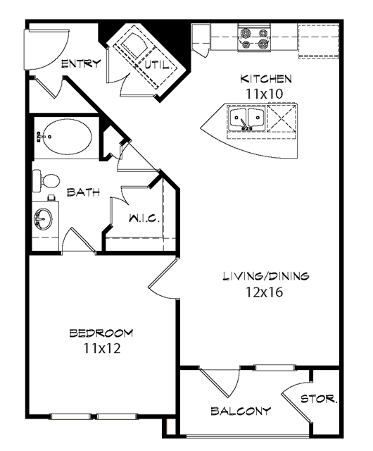 741 sq. ft. Manor floor plan