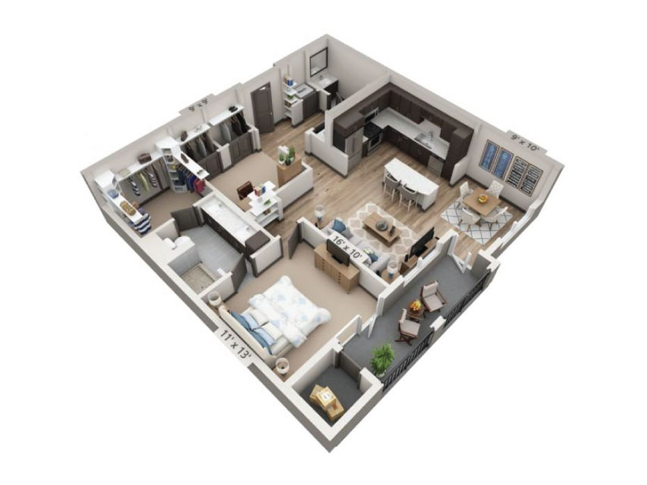 1,024 sq. ft. to 1,064 sq. ft. Medina floor plan