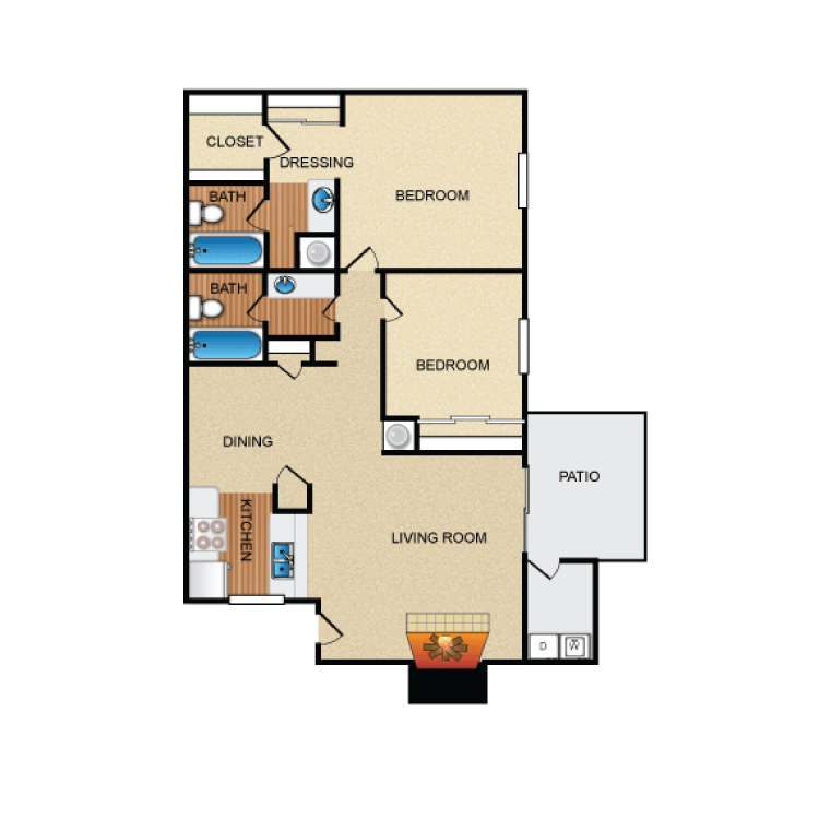 1,048 sq. ft. B2 floor plan