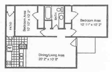 727 sq. ft. B1/50% floor plan