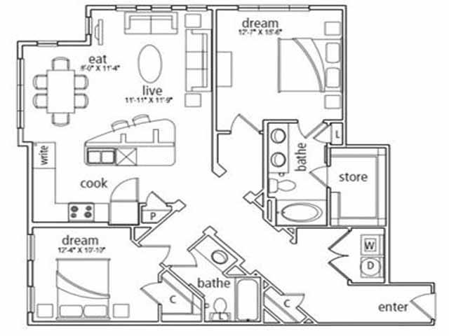1,255 sq. ft. St Tropez floor plan