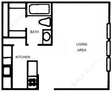 405 sq. ft. E1 floor plan