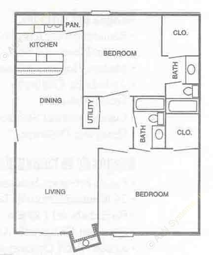932 sq. ft. 2B2 floor plan