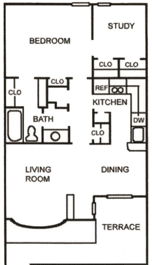 661 sq. ft. A-4 floor plan