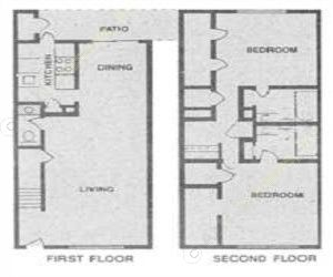 1,100 sq. ft. H floor plan