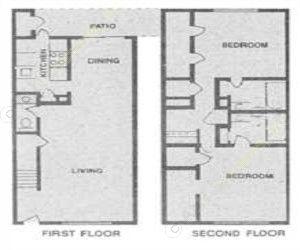 1,100 sq. ft. CAMBRIDGE floor plan