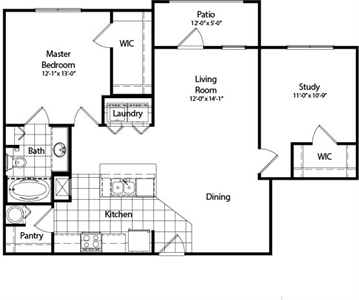 1,045 sq. ft. B5 floor plan