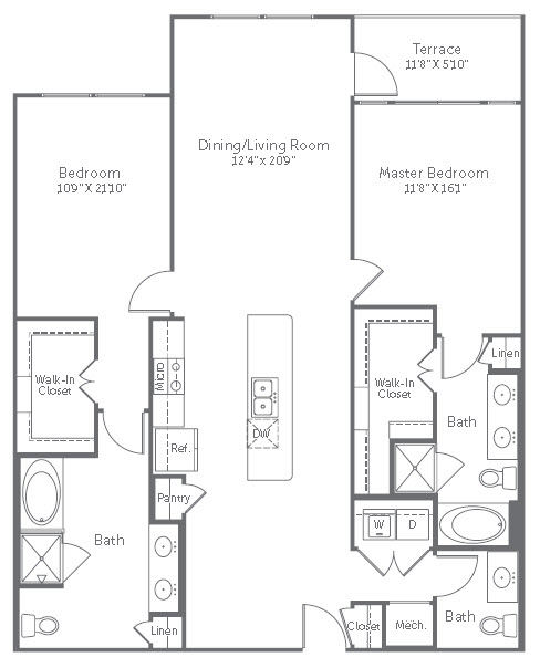 1,433 sq. ft. to 1,475 sq. ft. B8 floor plan