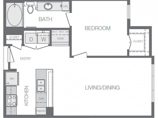 708 sq. ft. to 723 sq. ft. B floor plan
