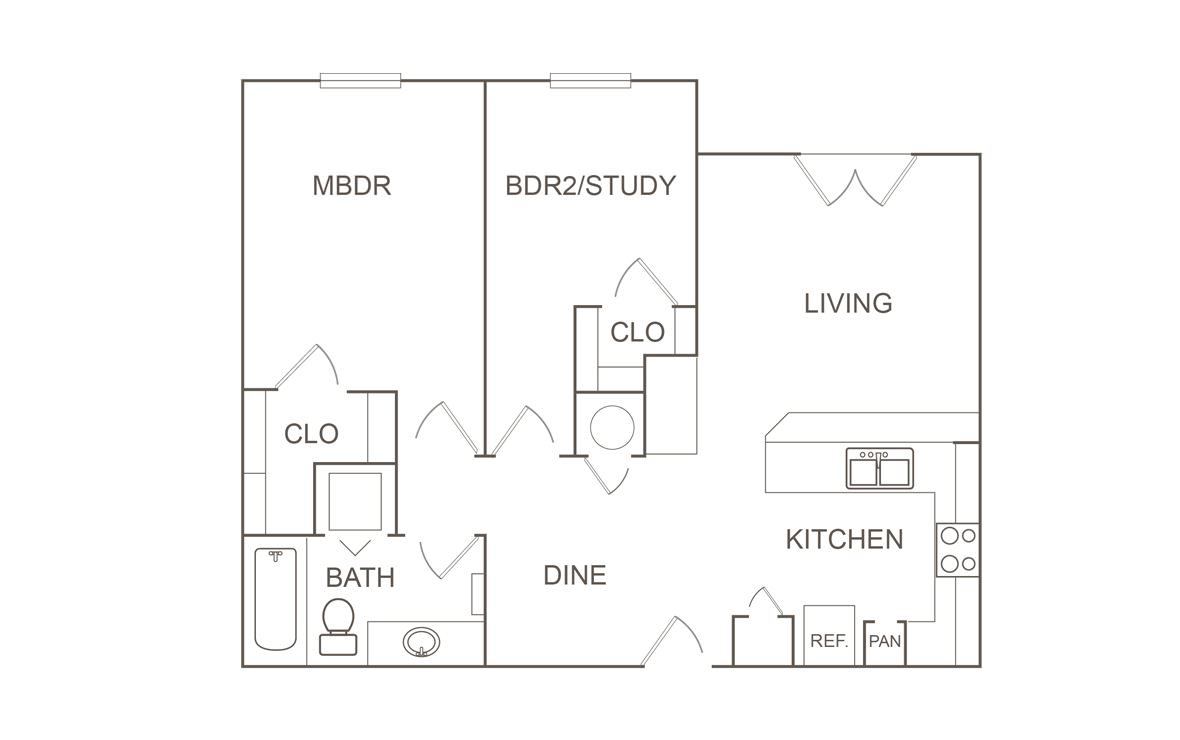 869 sq. ft. 60 floor plan