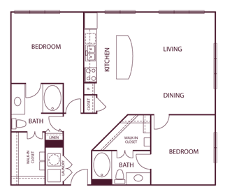 1,195 sq. ft. B9 floor plan
