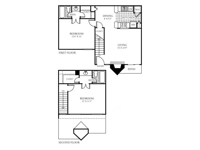 1,061 sq. ft. H floor plan