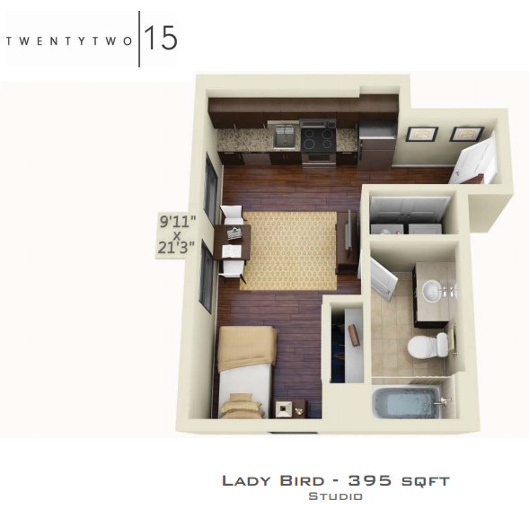 395 sq. ft. LADY BIRD floor plan
