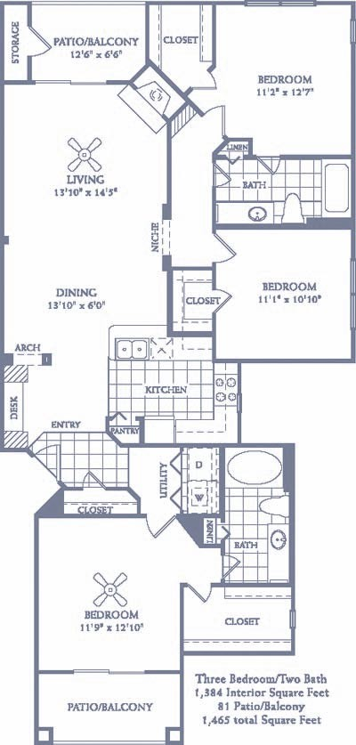 1,384 sq. ft. C2 floor plan