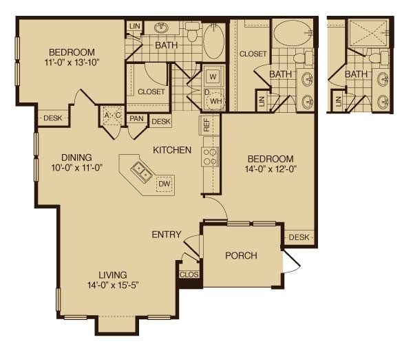1,268 sq. ft. Magnolia floor plan