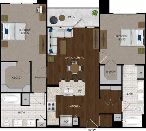 1,154 sq. ft. B1 floor plan