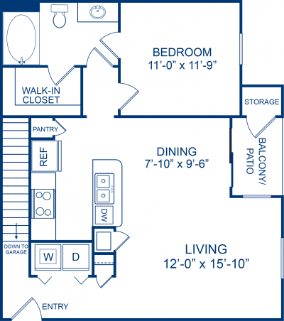 811 sq. ft. Caspian floor plan