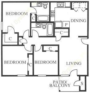 1,075 sq. ft. C1 floor plan