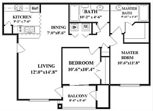951 sq. ft. Bristol-B1 floor plan