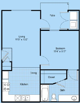 587 sq. ft. A1-El Paso floor plan