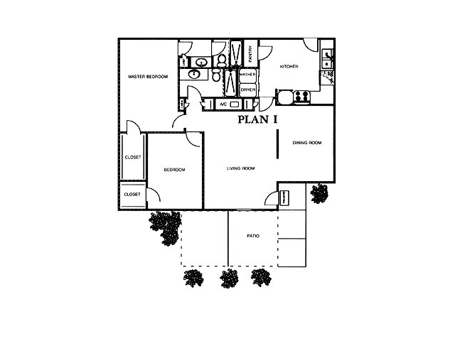 1,250 sq. ft. EVERGREEN floor plan