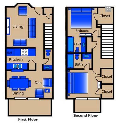 1,250 sq. ft. T3 TH floor plan