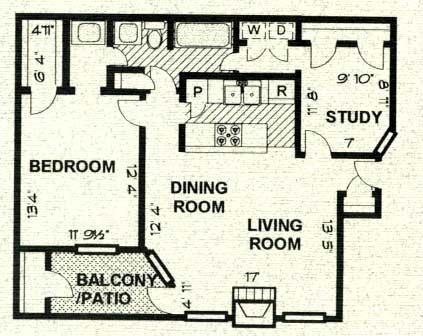 906 sq. ft. B2 PH C floor plan