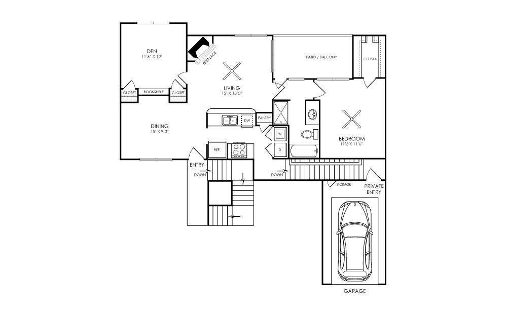 964 sq. ft. A3 floor plan