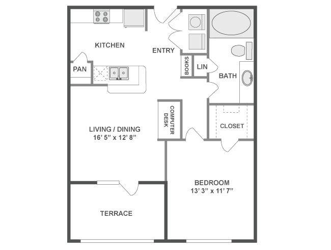 691 sq. ft. Fusion floor plan