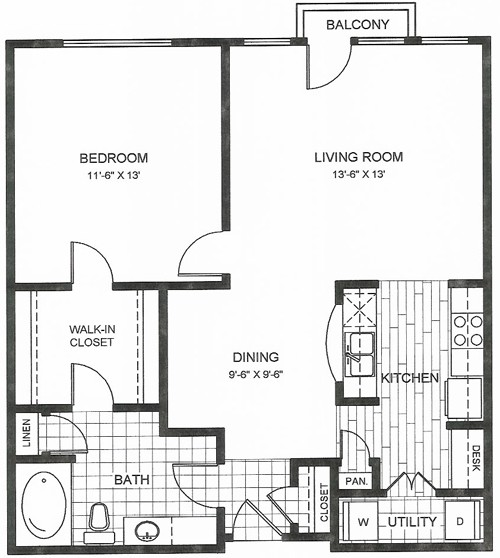 771 sq. ft. to 778 sq. ft. Travis floor plan